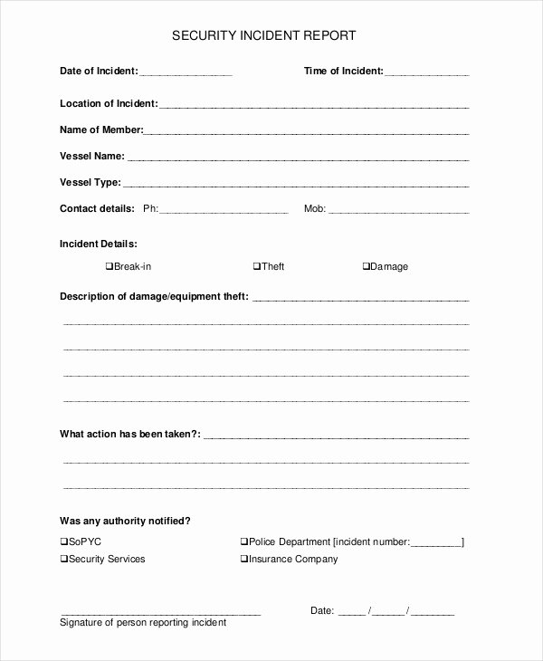 Security Incident Report Template Best Of 33 Report Templates