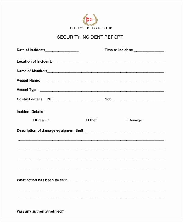 Security Incident Report Template Elegant 13 Sample Security Incident Reports – Pdf Word