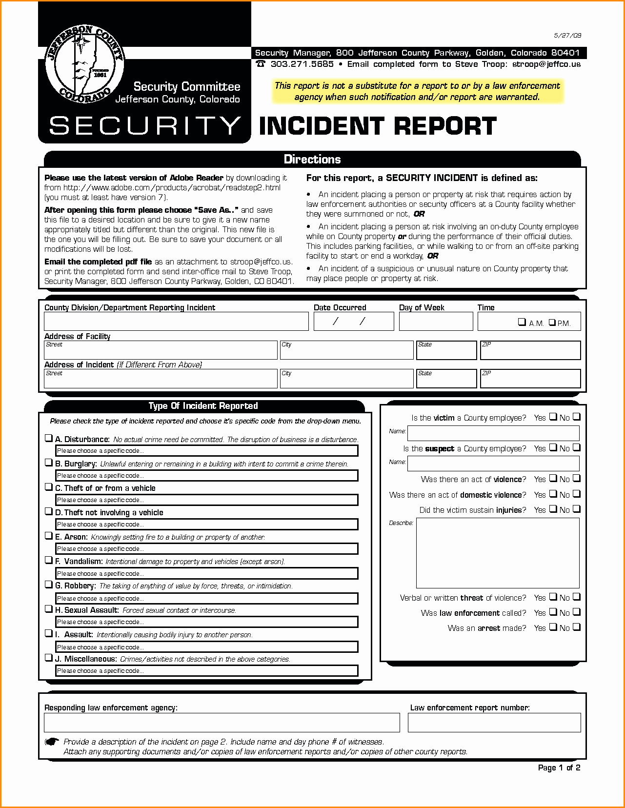 Security Incident Report Template Inspirational Example Security Incidentort Injury form Template