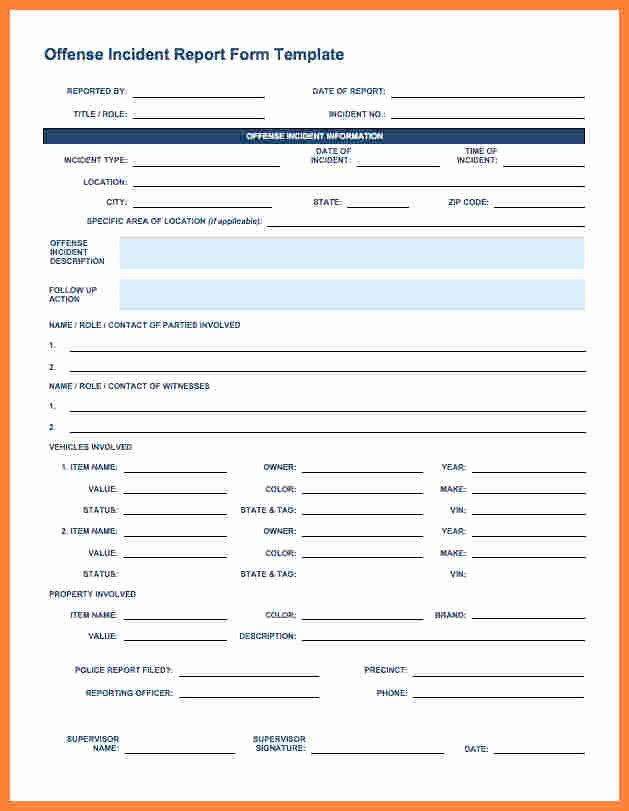 Security Incident Report Template Luxury 11 Security Incident Report form Template