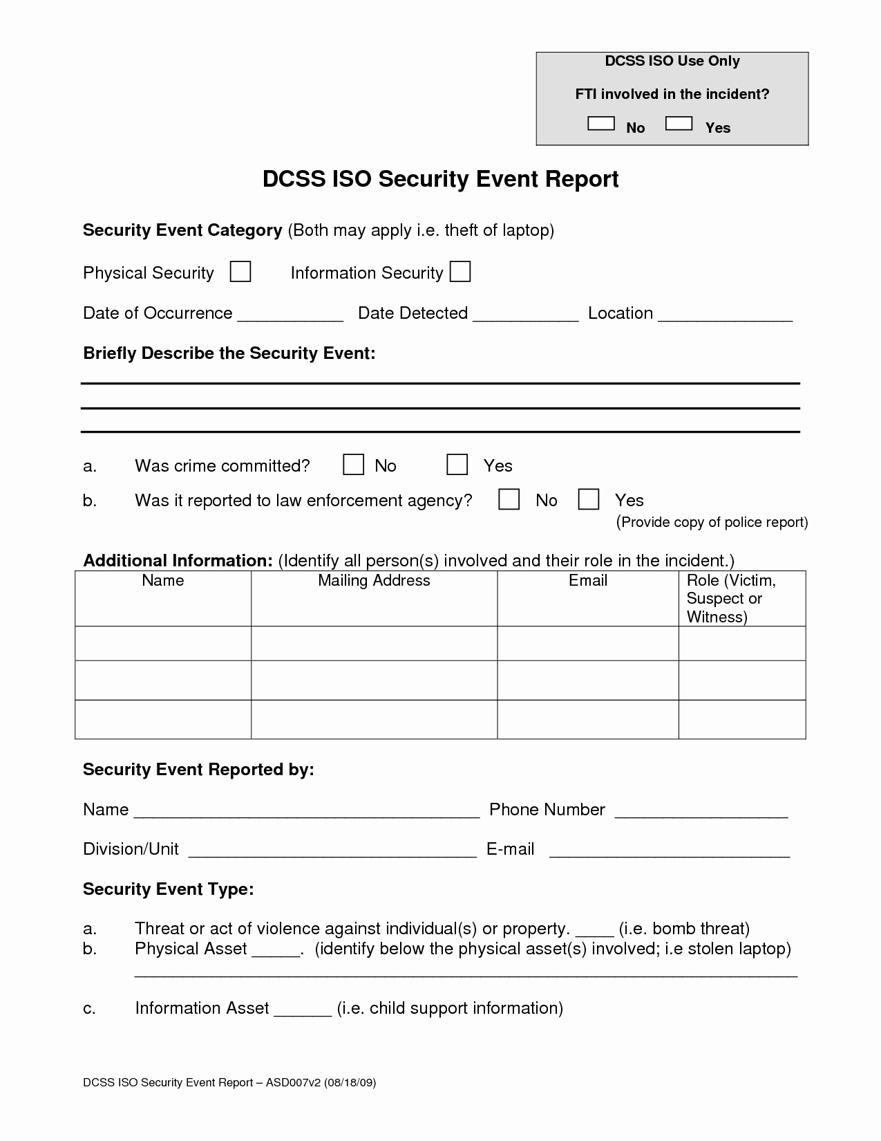 Security Incident Report Template Luxury Best S Of Security Guard Incident Report form
