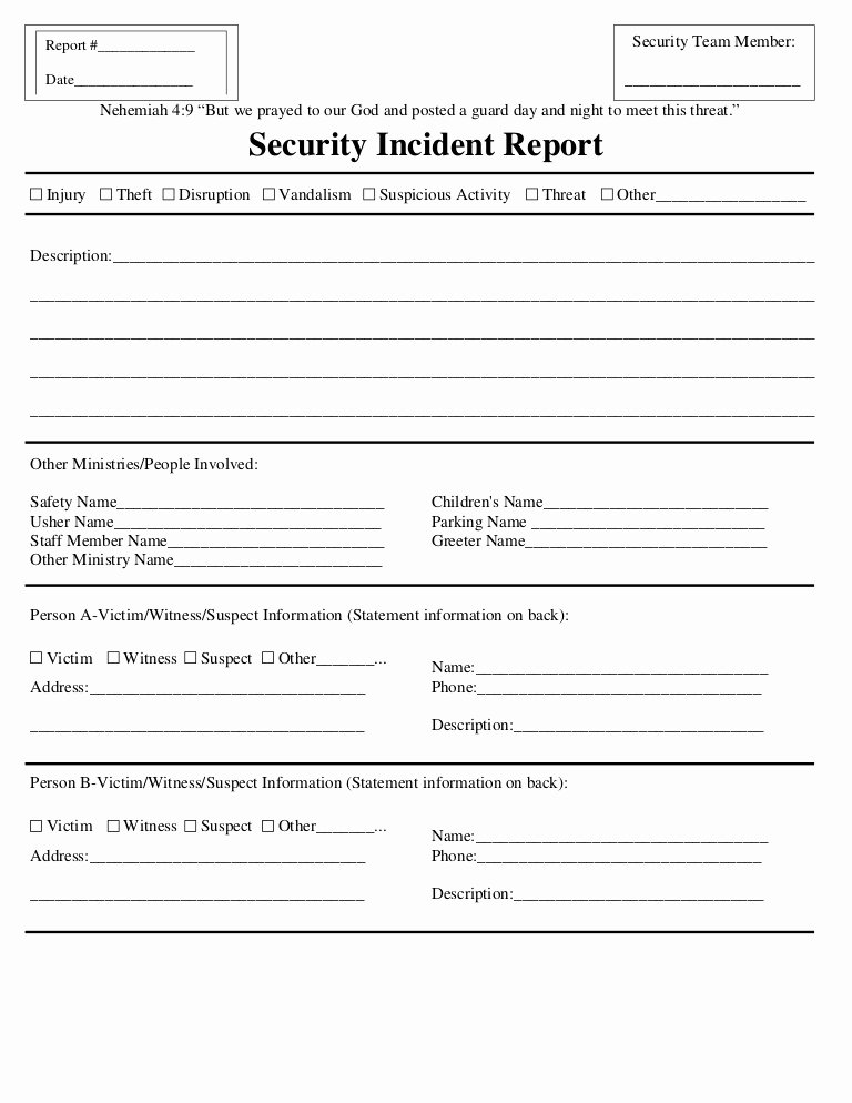 Security Incident Report Template Unique Security Incident Report