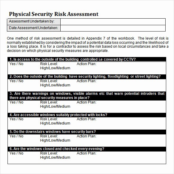 Security Risk assessment Template Awesome 10 Sample Security Risk assessment Templates Pdf Word