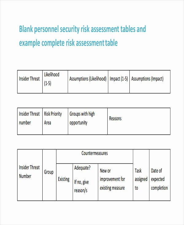 Security Risk assessment Template Beautiful 26 Risk assessment form Templates