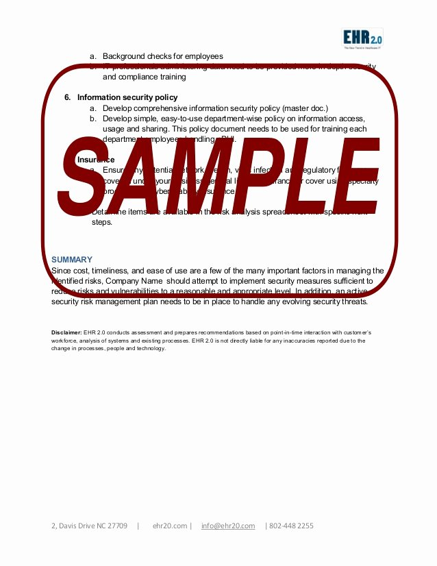 Security Risk assessment Template Beautiful Ehr Meaningful Use Security Risk assessment Sample Document