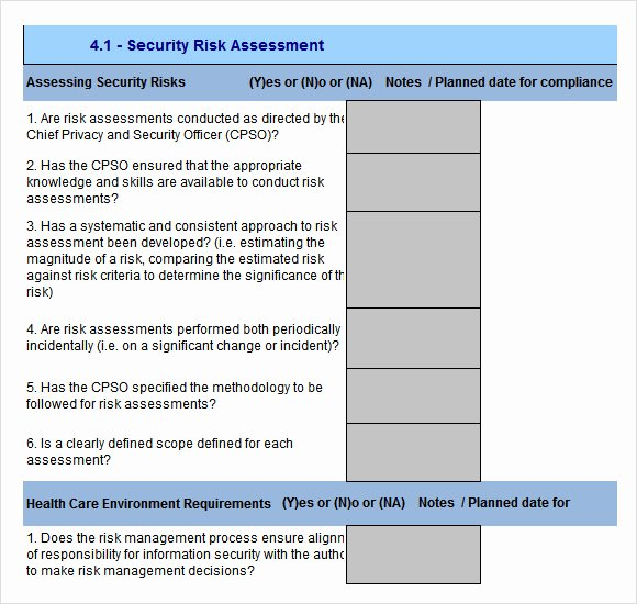 Security Risk assessment Template Elegant 10 Sample Security Risk assessment Templates Pdf Word
