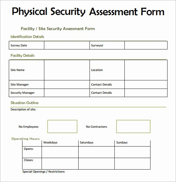 Security Risk assessment Template Inspirational 7 Security assessment Samples Examples Templates
