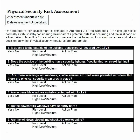 Security Risk assessment Template New Security Risk assessment Template – Illwfo