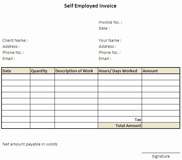 Self Employed Invoice Template Best Of Self Employed Invoice Template Uk Self Employed Invoice
