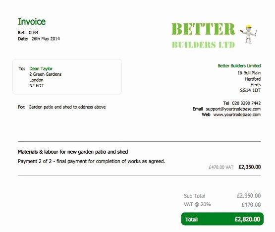 Self Employed Invoice Template Luxury Carpenter Invoice Template 23
