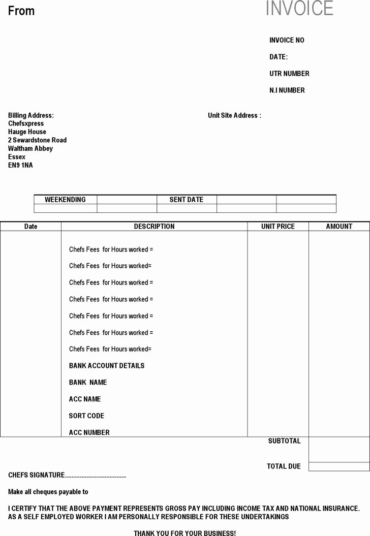 Self Employed Invoice Template New Download Self Employed Invoice Templates for Free