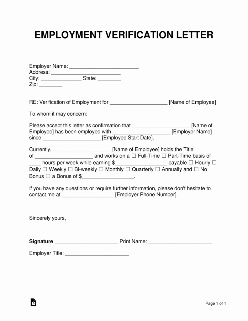 Self Employment Letter Template Awesome Free Employment In E Verification Letter Pdf