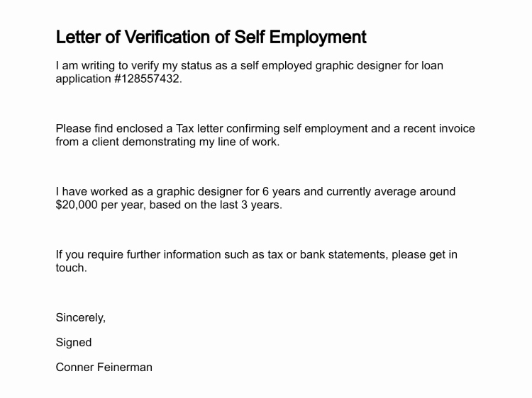 Self Employment Letter Template Best Of Self Employed Proof In E Letter Template