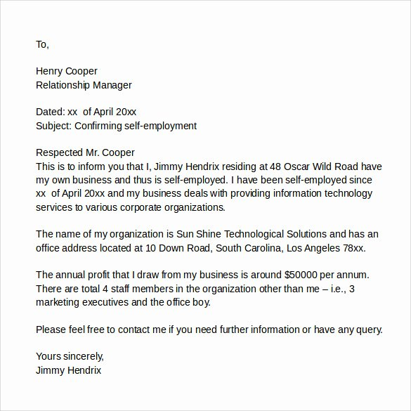 Self Employment Letter Template Elegant 8 Sample It Cover Letter Samples Examples & format