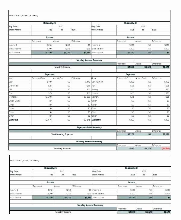 Semi Monthly Budget Template Best Of Bi Monthly Bud Spreadsheet Weekly Bud Excel Sample