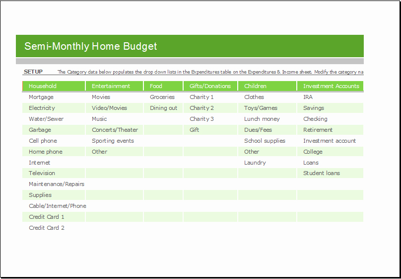 Semi Monthly Budget Template Unique Semi Monthly Home Bud Sheet for Excel