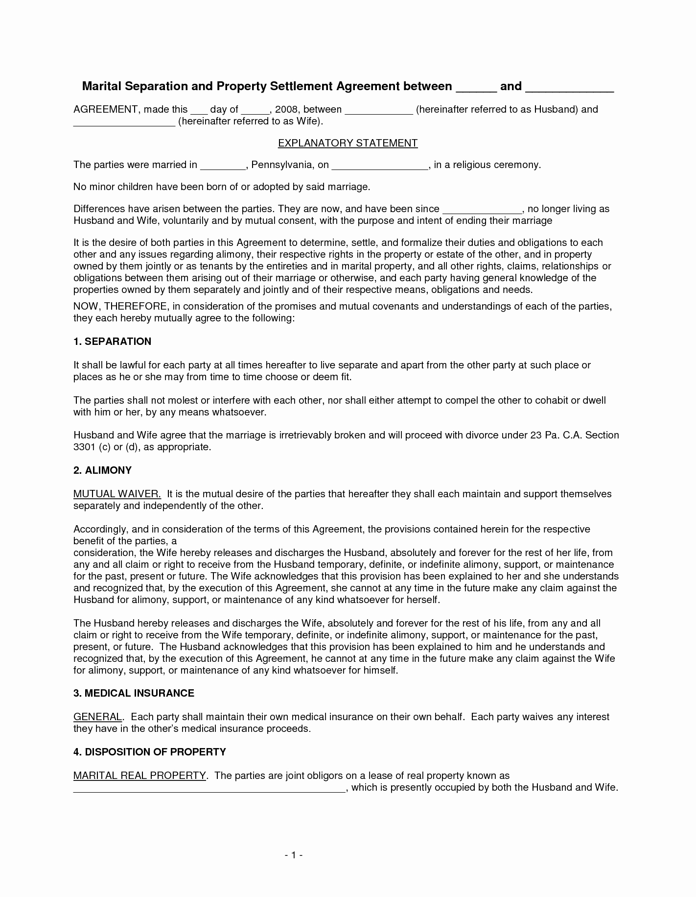 Separation Agreement Nc Template Awesome Best S Of Free Marital Separation Agreement forms