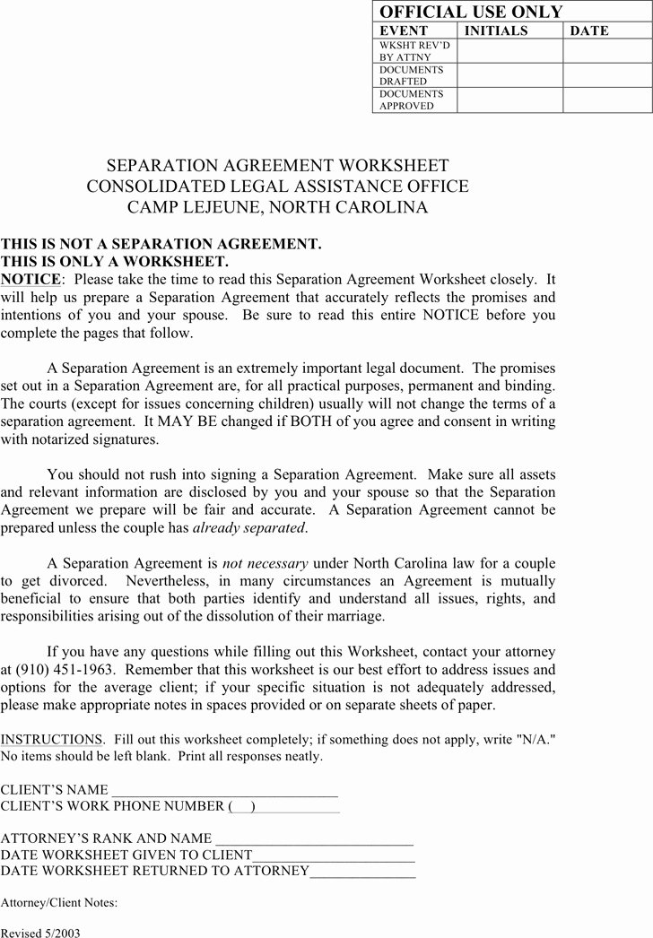 Separation Agreement Nc Template Fresh Separation Agreement form Nc