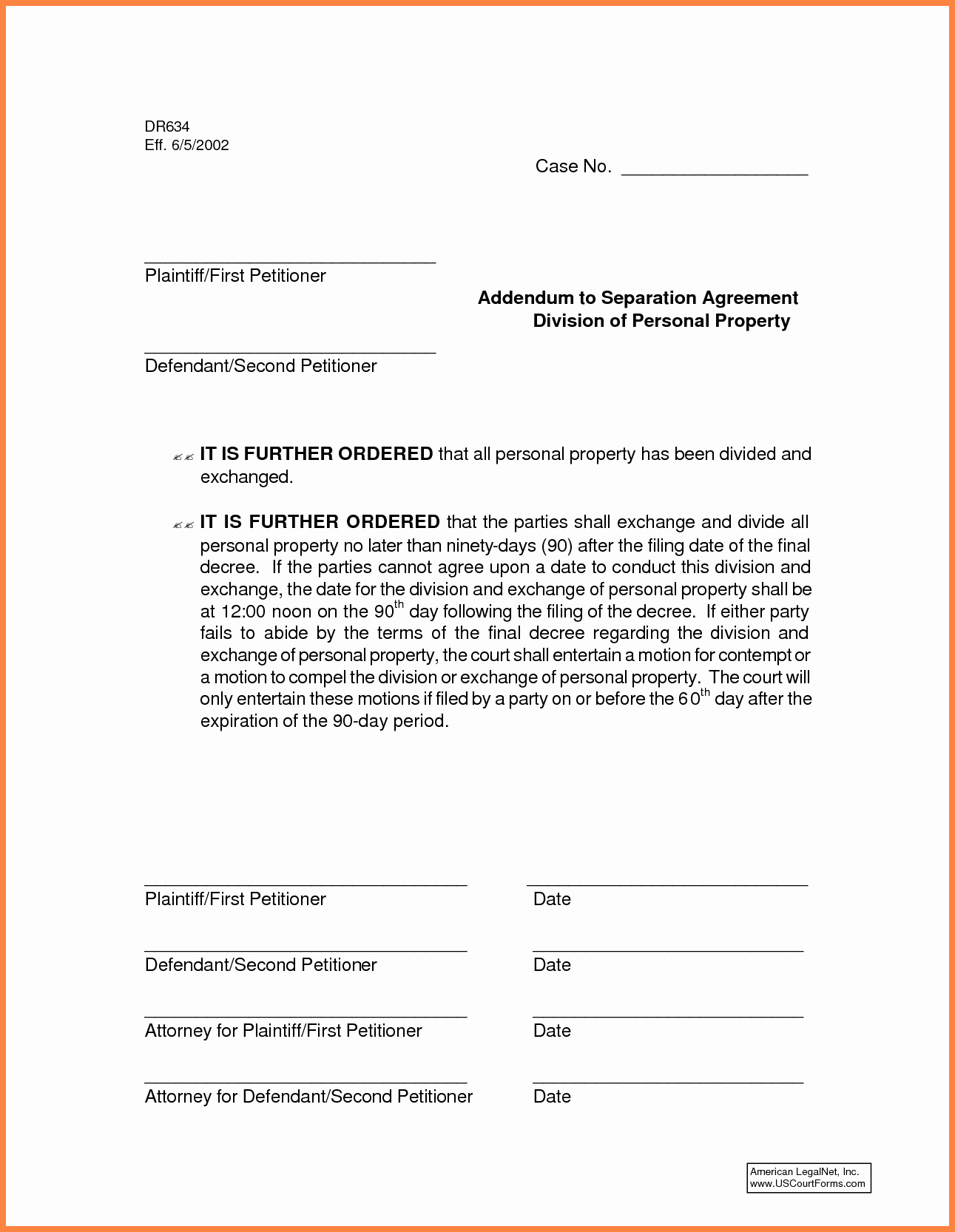 Separation Agreement Template Nc Beautiful Virginia Legal Separation Agreement form