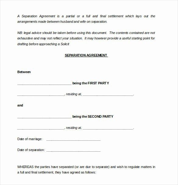 Separation Agreement Template Word Awesome 16 Separation Agreement Templates Free Sample Example