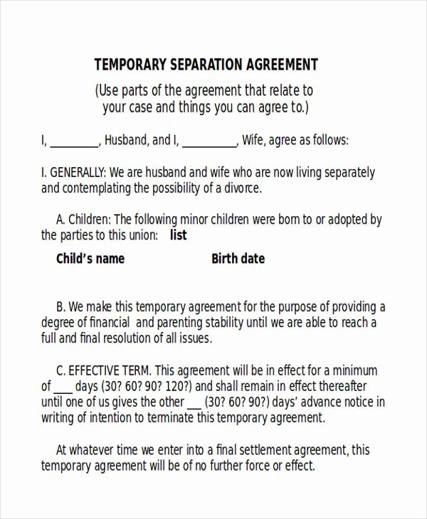 Separation Agreement Template Word Beautiful Temporary Separation Agreement Template