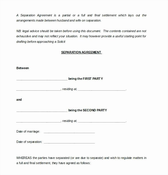 Separation Agreement Template Word Best Of Separation Papers Template Divorce Agreement Template