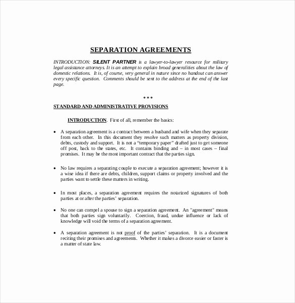 Separation Agreement Template Word Elegant Separation Agreement Pdf