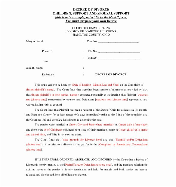 Separation Agreement Template Word Inspirational 12 Divorce Agreement Templates Pdf Doc