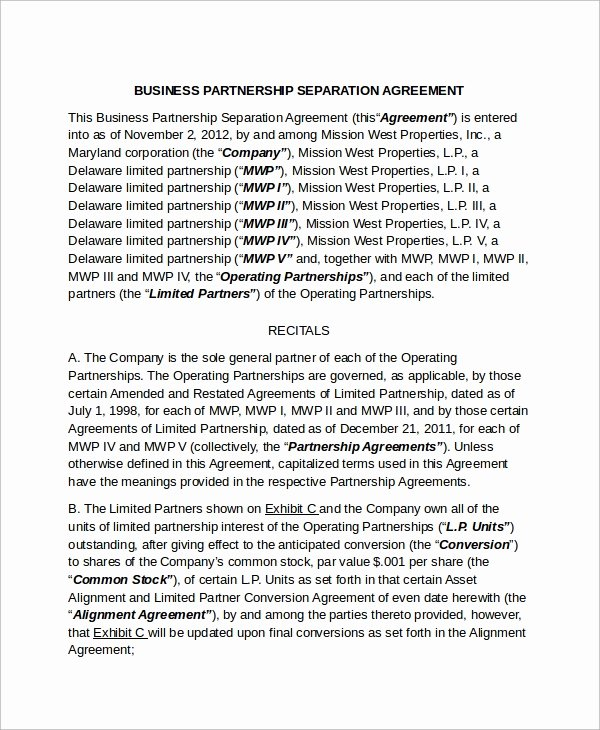 Separation Agreement Template Word Lovely 9 Business Separation Agreement Templates
