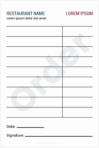 Server order Pad Template Lovely Pad Template Server order Printable Waitress – Teran
