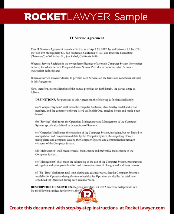 Service Agreement Template Doc Best Of It Service Contract Agreement Template with Sample