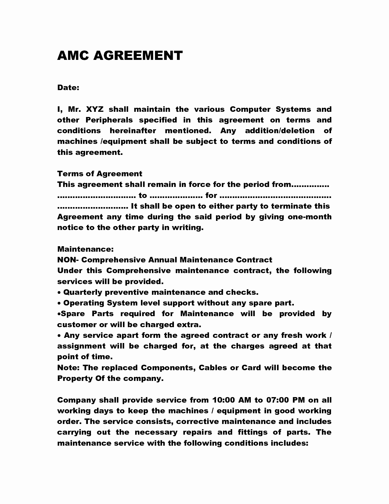 Service Agreement Template Doc Elegant Annual Maintenance Contract Doc by Anks13 Maintenance