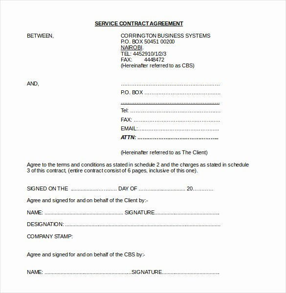 Service Agreement Template Doc Fresh 22 Contract Agreement Templates – Word Pdf Pages