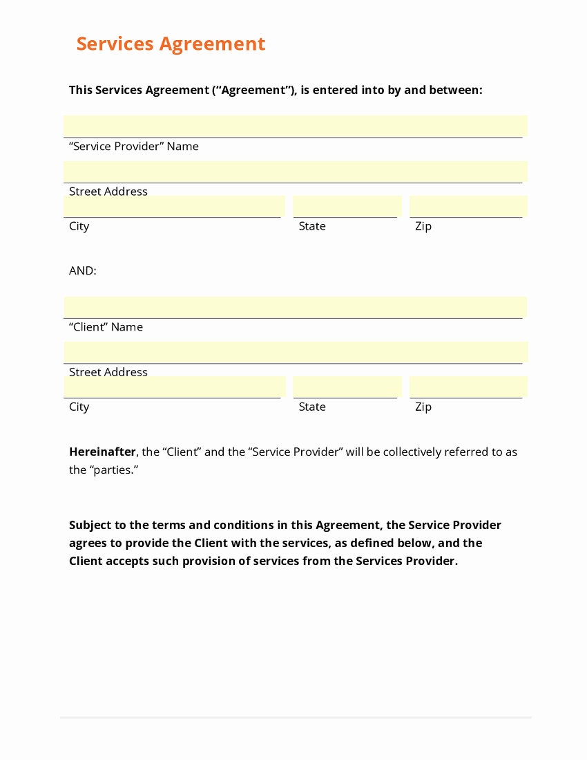 Service Agreement Template Doc Inspirational Business form Template Gallery