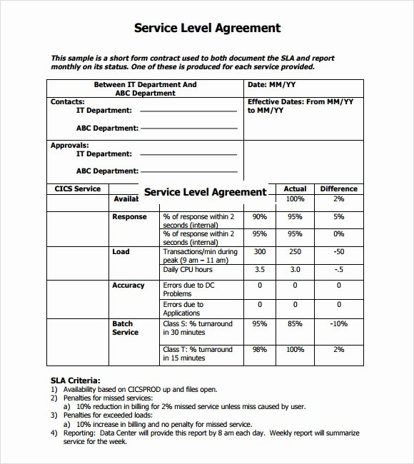 Service Agreement Template Doc New 16 Service Level Agreement Samples Word Pdf