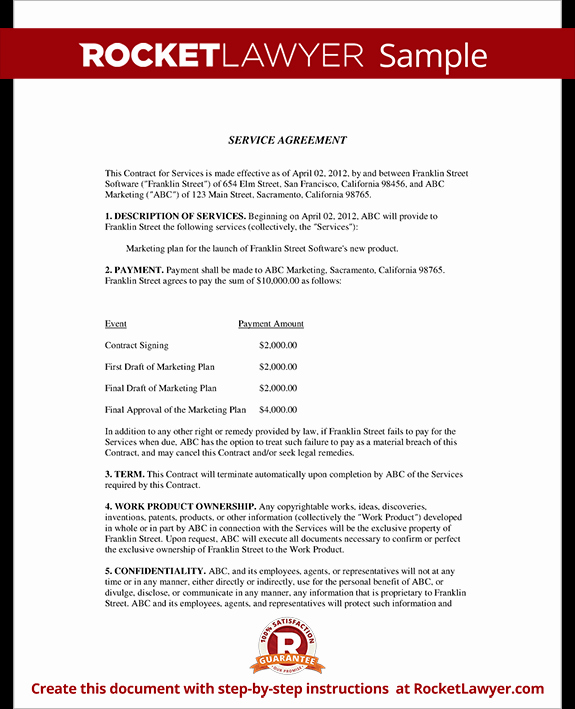 Service Agreement Template Doc New Service Agreement Contract Template with Sample
