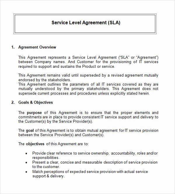 Service Agreement Template Doc Unique 14 Sample Service Level Agreement Templates – Pdf Word