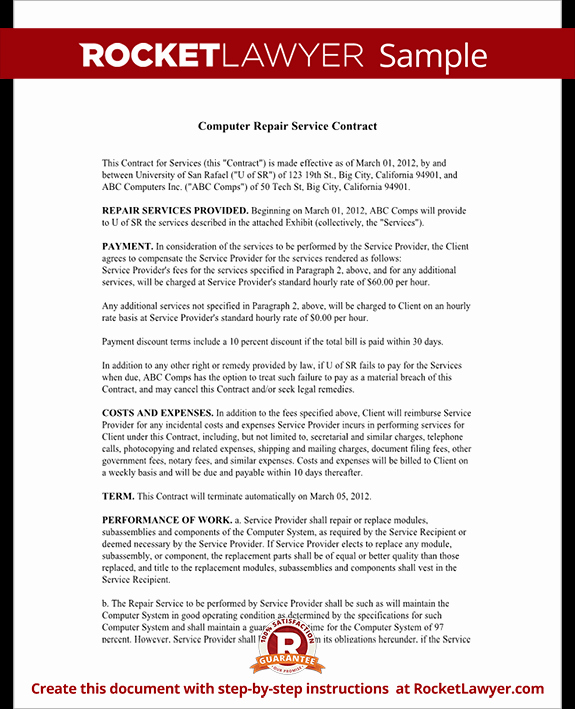 Service Contract Template Doc Beautiful Puter Service Contract Repair Puter Template