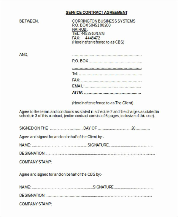 Service Contract Template Doc Lovely 7 Yearly Contract Templates Sample Example