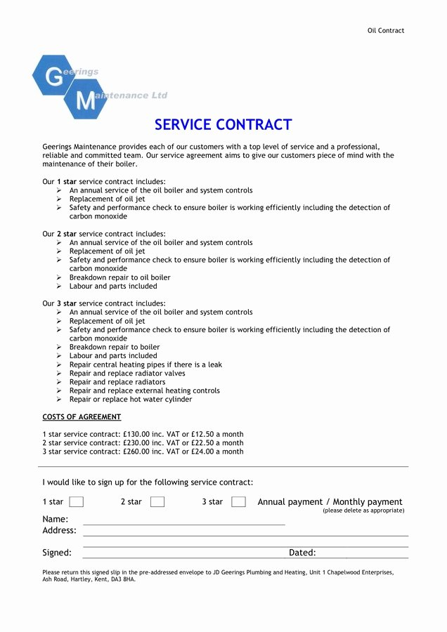 Service Contract Template Doc Unique Boiler Service Agreements original Service Contract Sample