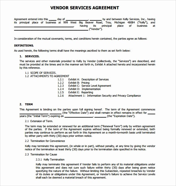 Service Contract Template Pdf Awesome 14 Vendor Contract Templates – Samples Examples & format