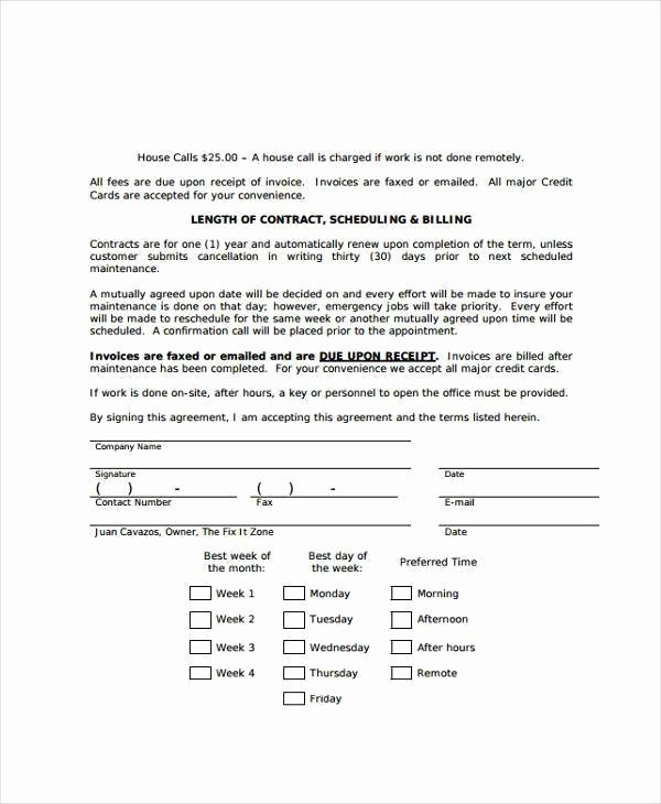 Service Contract Template Pdf Awesome Maintenance Contract Agreement