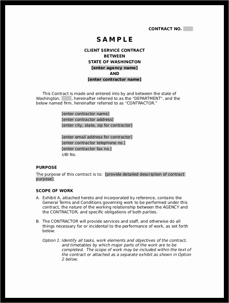 Service Contract Template Pdf Fresh Blank Contract Example Mughals