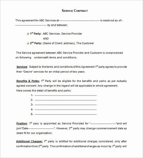 Service Contract Template Pdf Inspirational 12 Service Contract Templates Pdf Doc