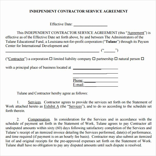 Service Contract Template Pdf Lovely 7 Service Agreement Templates