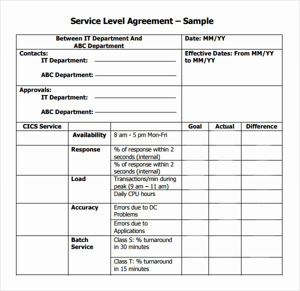 Service Contract Template Pdf Lovely Service Level Agreement 9 Download Free Documents In