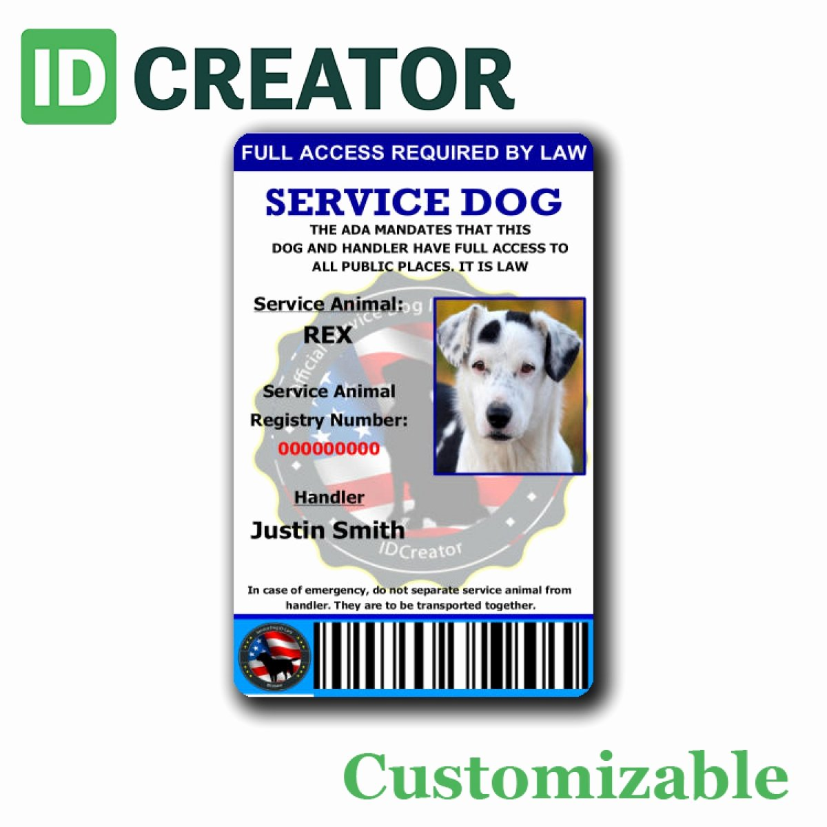 Service Dog Card Template Best Of Access Id Card Template Id Templates now Beautiful