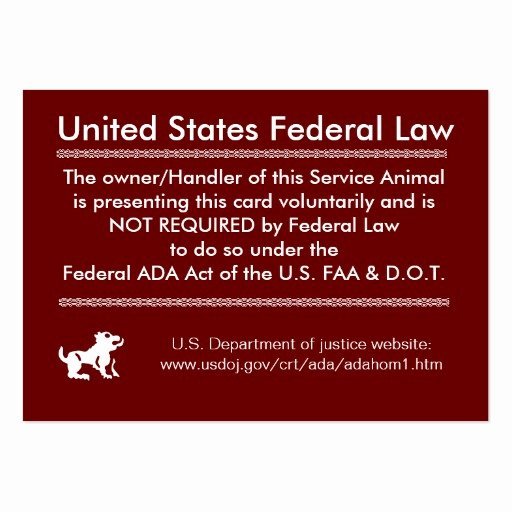 Service Dog Card Template Best Of Service Dog Rights Card Business Cards Pack 100