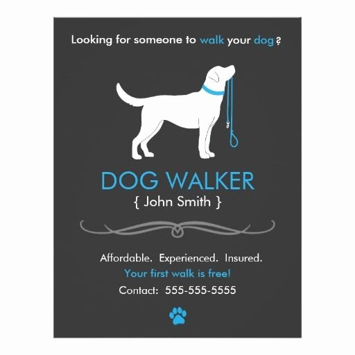 Service Dog Card Template Elegant Dog Walker Walking Business Flyer Template