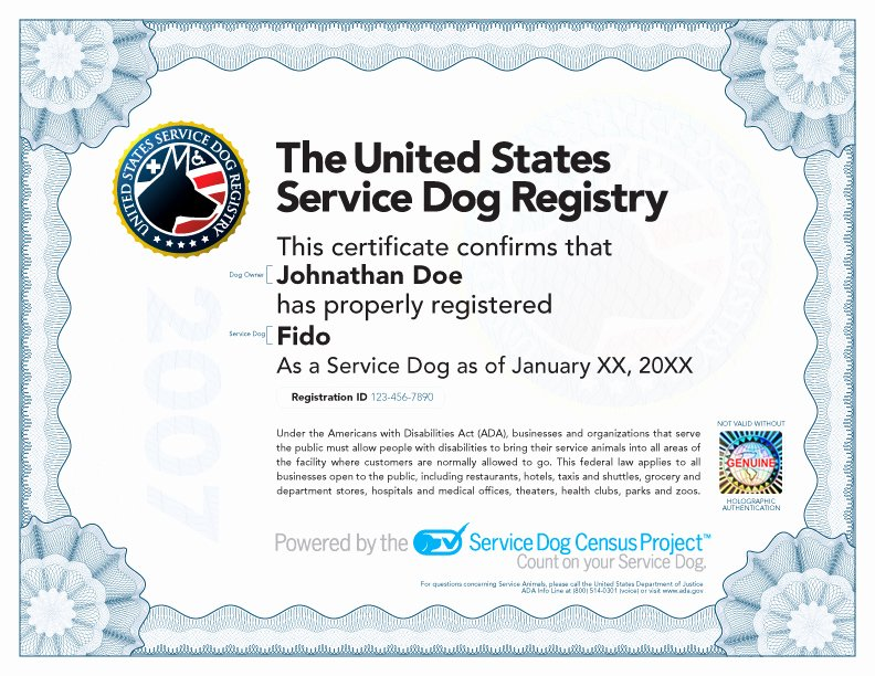 Service Dog Card Template Unique Service Dog Certificate